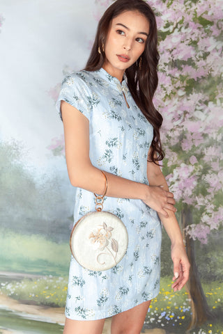 Le Floral Embroidered Cheongsam (Blue)