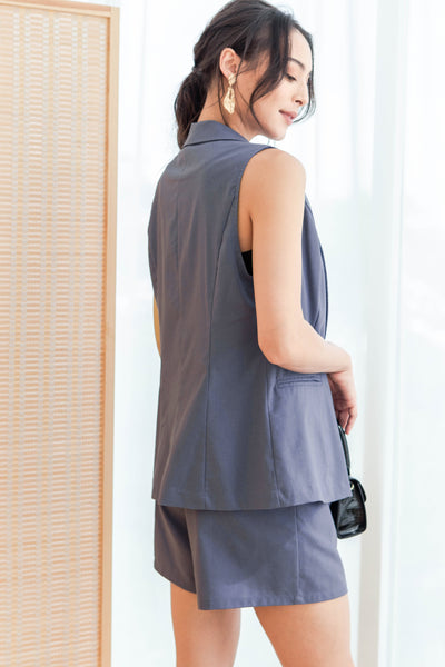 Lexanne Vest Top (Dusty Blue)
