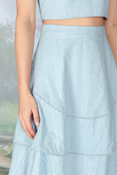 Leyla Crochet Tiered Midi Skirt (Powder Blue)