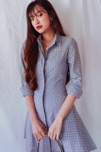 Lilah Eyelet Shirt Dress (Lavender Grey)