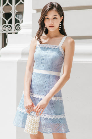 Liz Layered Crochet Dress (Blue)