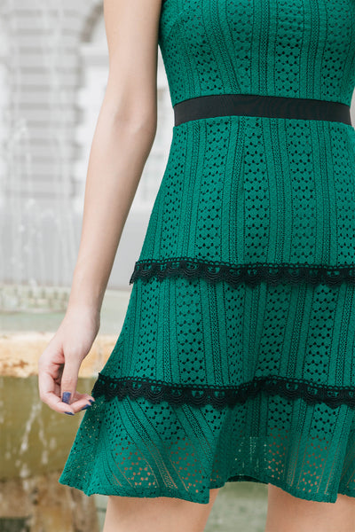 Liz Layered Crochet Dress (Pine Green)