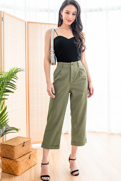Lowell Linen Cuffed Pants (Olive)
