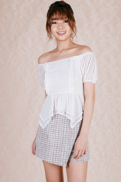Lumie Swiss Dot Off Shoulder Top (White)