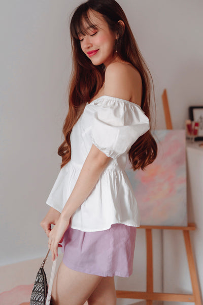 Madelyn Two-Way Babydoll Top (White) - L