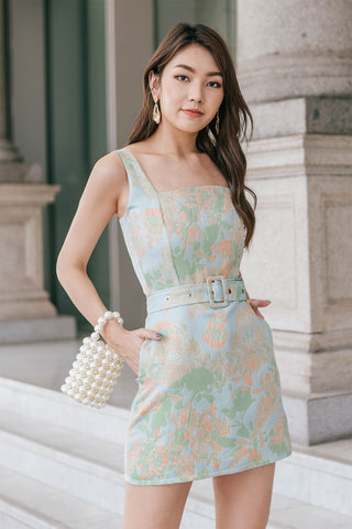 Mae Embossed Belt Romper Dress (Cyan)