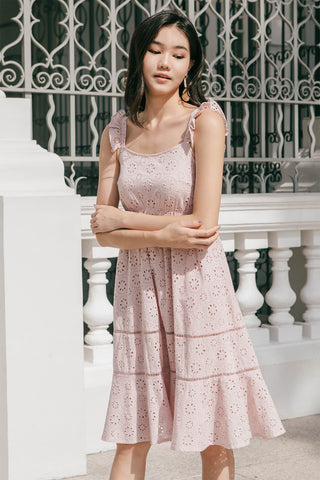 Mallory Eyelet Babydoll Midi Dress (Dusty Pink)