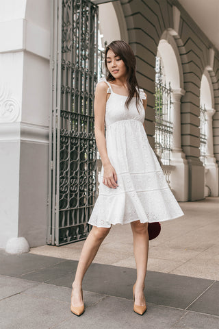 Mallory Eyelet Babydoll Midi Dress (White)