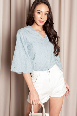 Melanie Embroidered Top (Blue)