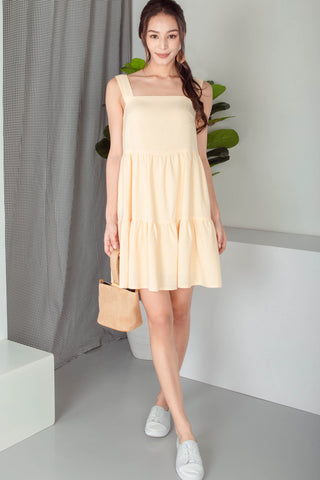 Backorder* Meryll Sleeveless Tiered Babydoll Dress (Light Daffodil)