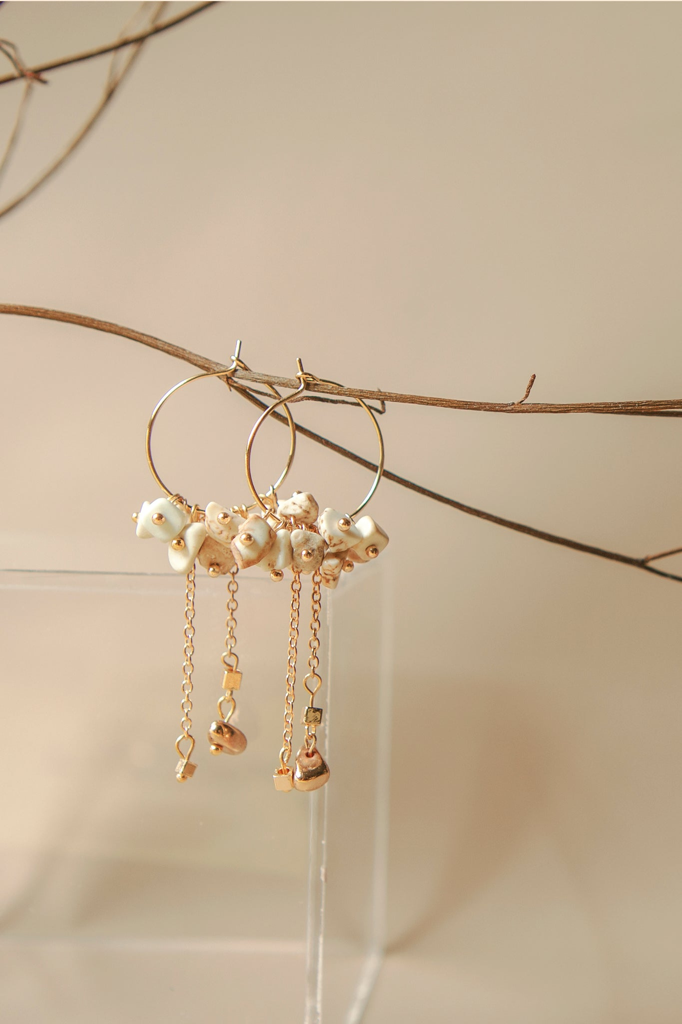 Mini Hoops Earrings (Howlite White)
