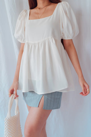 Montclair Babydoll Top (White)