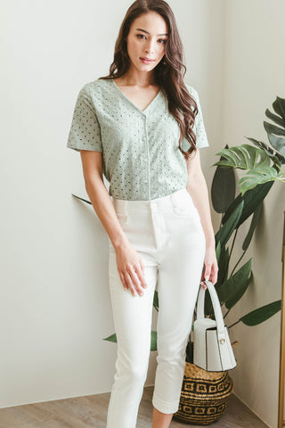 Myra Evelet V-neck Top (Seafoam)