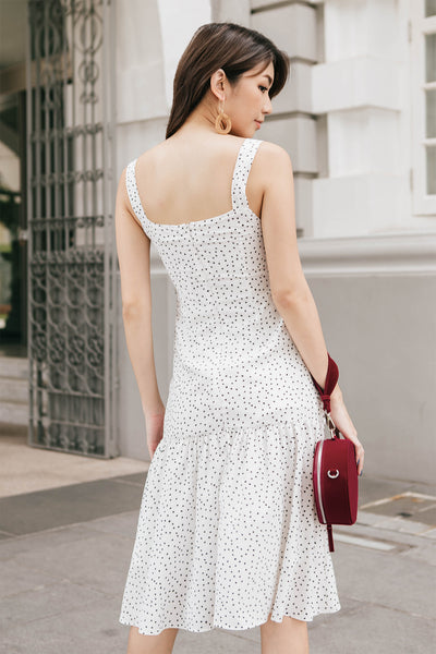 Nelle Dotted Fringe Midi Dress (White)