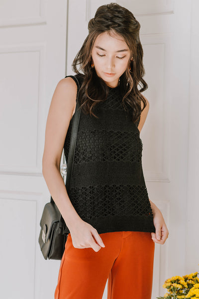 Nikayla Crochet Cut-out Top (Black)