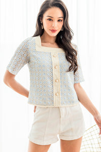 Odetta Crochet Square Neck Top (Sky Blue)