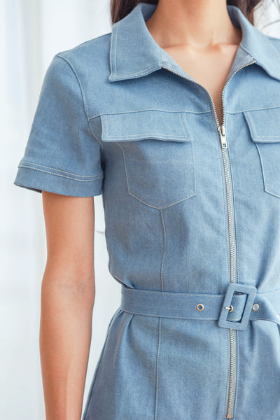 Parker Denim Belted Romper (Light Blue)