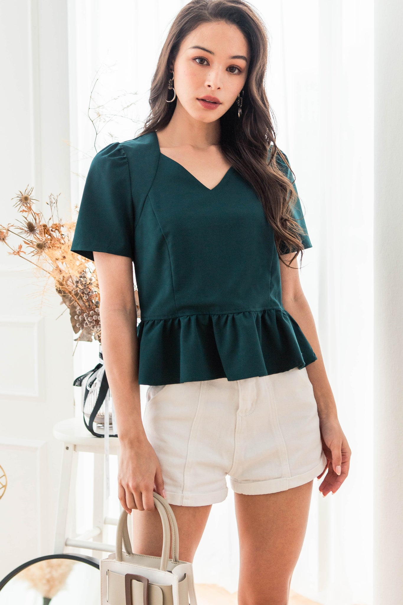 Raylee Peplum V-neck Top (Pine)