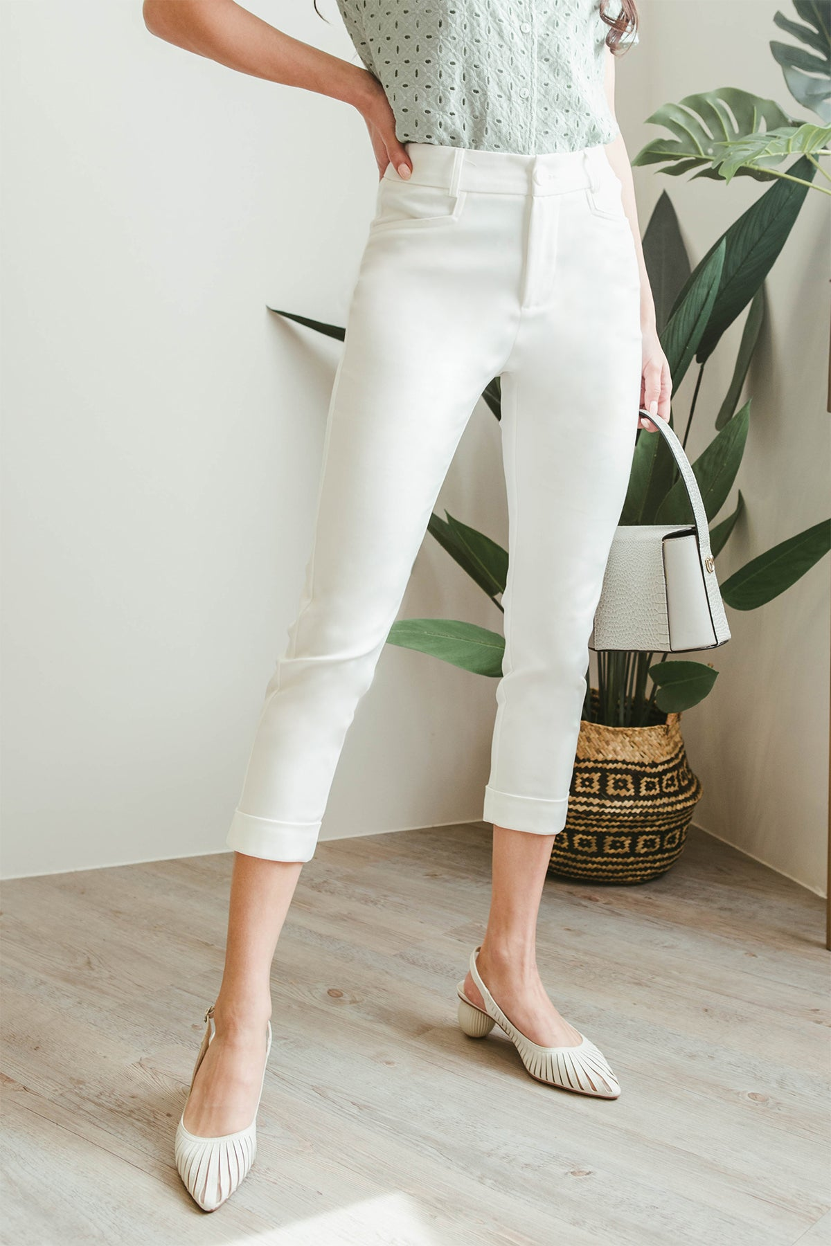 Rayne Cuffed Pants (White)