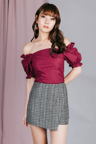 Riley Ruffle Off Shoulder Top (Burgundy)
