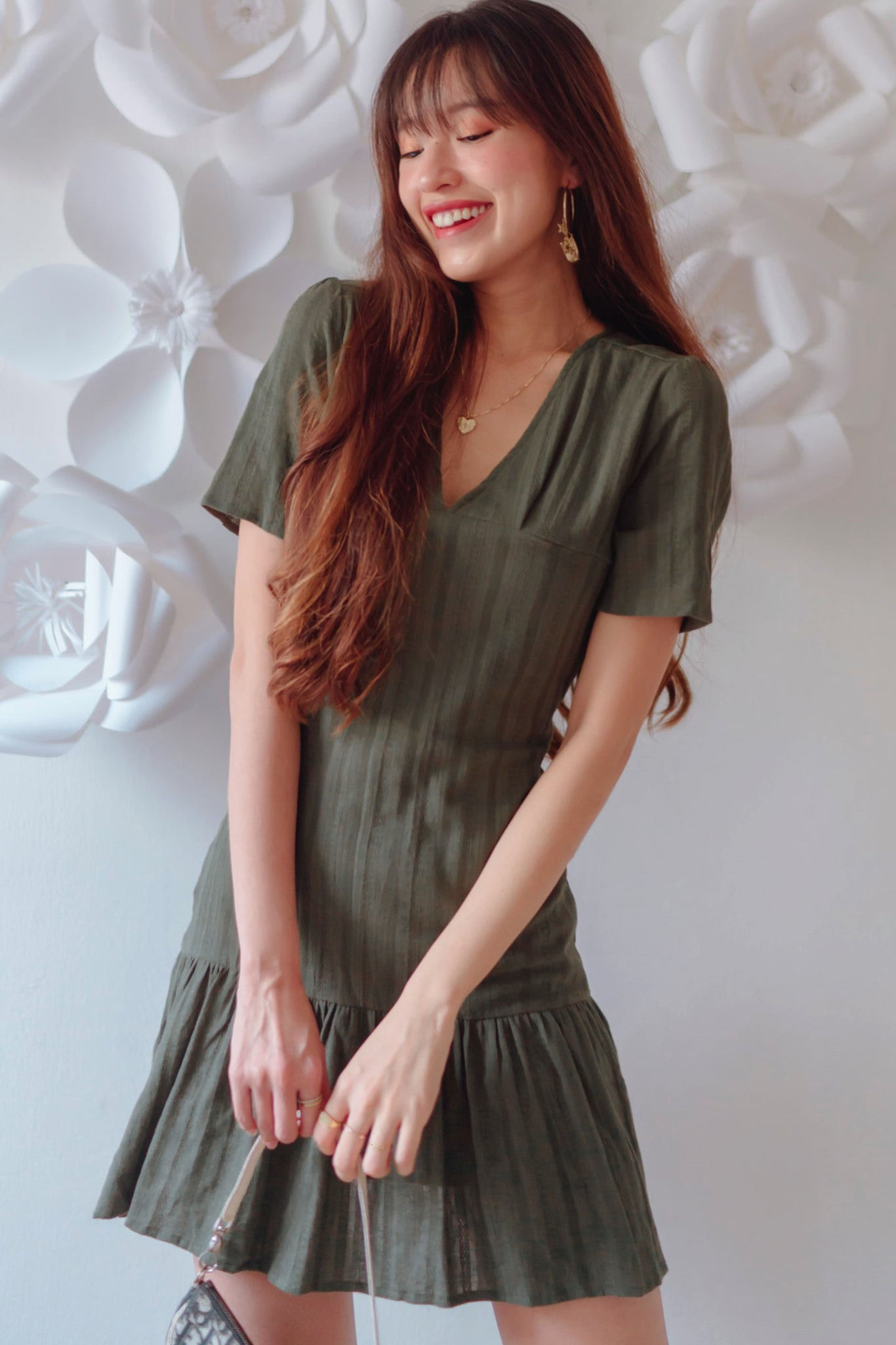 Ryleigh V-neck Dress (Olive)