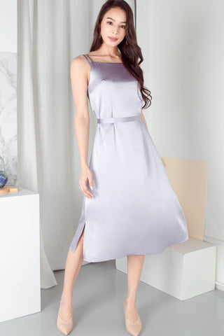 Shelby Satin Midi Dress (Silver)
