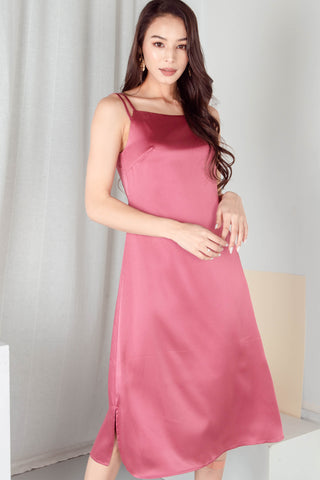 Shelby Satin Midi Dress (Rose)
