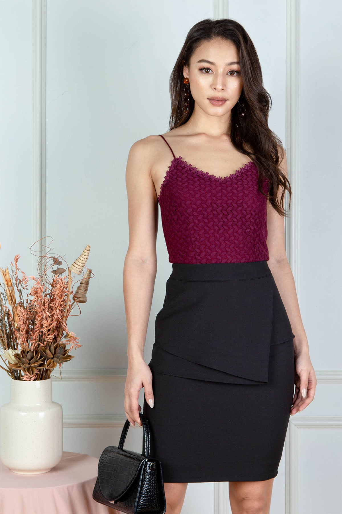 Sherrie Crochet Top (Burgundy)