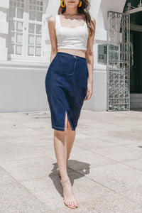 Sheya Denim Midi Skirt (Dark Blue)