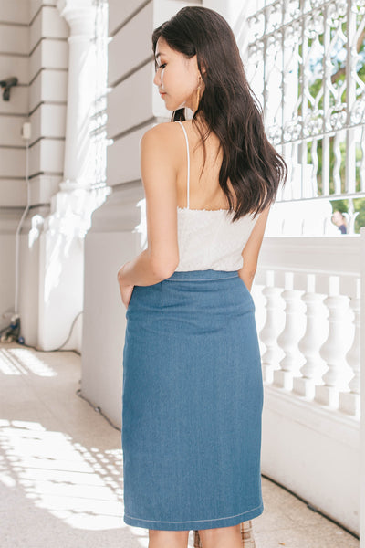 Sheya Denim Midi Skirt (Light Blue)