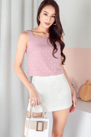 Sierra Textured Square Neck Top (Blush)