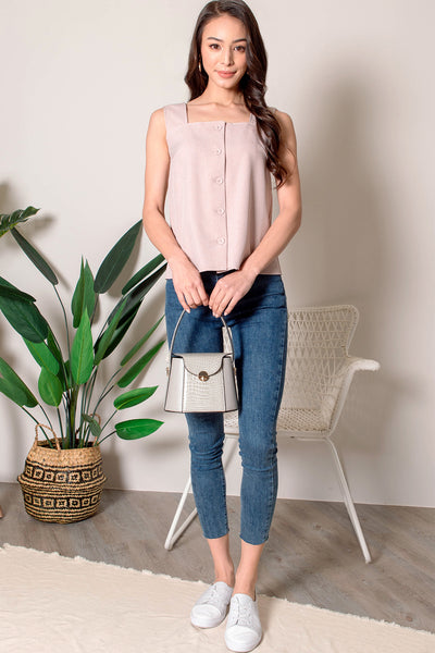 Tabitha Button Square Neck Top (Dusty Pink)