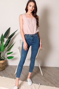 Tabitha Button Square Neck Top (Dusty Pink) - XS