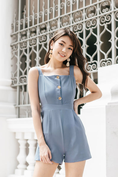 Taedra Button Romper (Dusty Blue)