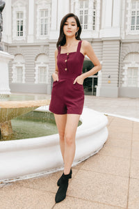 Taedra Button Romper (Maroon)