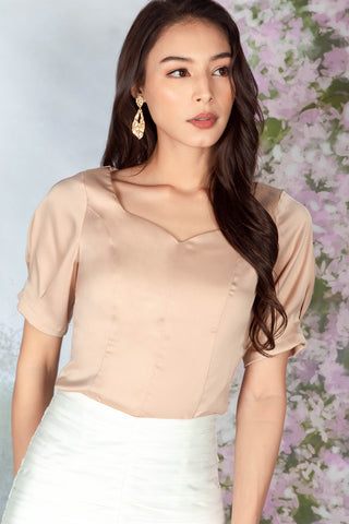 Tess Satin Sweetheart Top (Champagne)