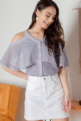 Vale Crochet Cold Shoulder Top (Lavender grey)