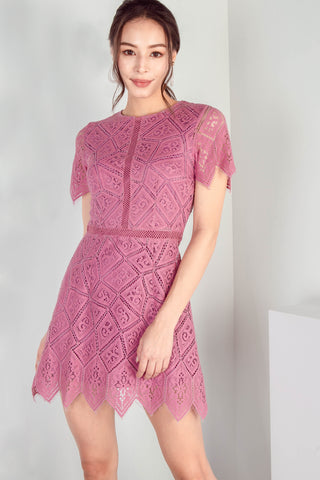 Winona Eyelash Lace Dress (Mulberry)