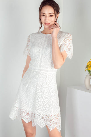 Winona Eyelash Lace Dress (White)