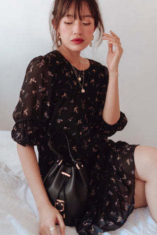 Winslet Floral Tiered Babydoll Dress (Black)