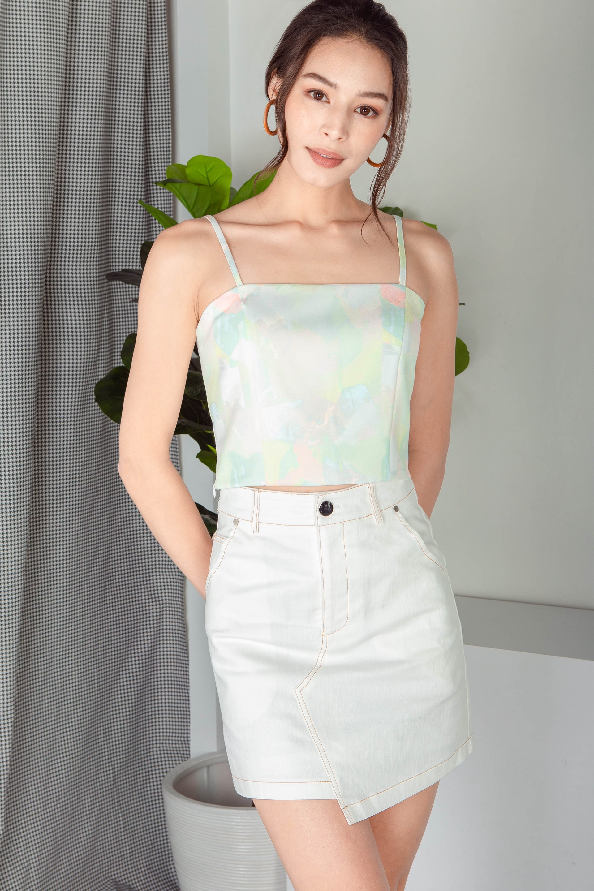 Ysabeau Straight Neck Top (Pastel)