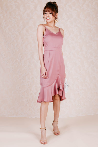 Zenia Backless Midi Dress (Rose)