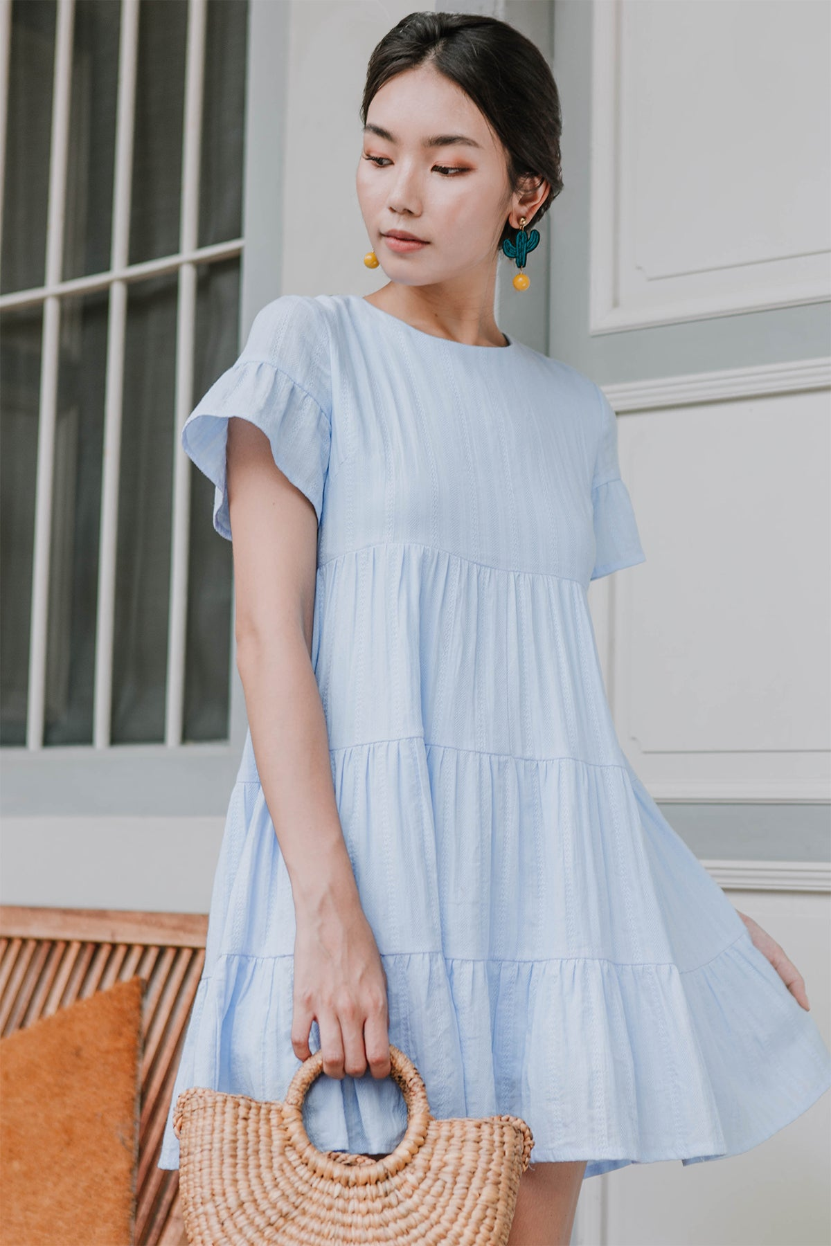 Ashton Round Neck Babydoll Dress (Periwinkle) - M