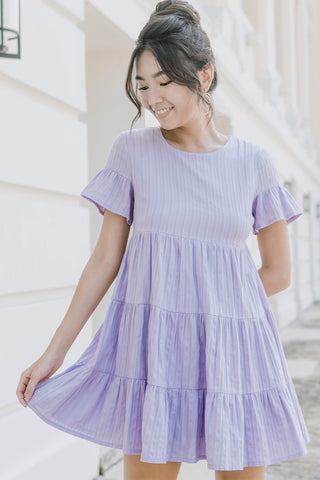 Ashton Round Neck Babydoll Dress (Lilac)