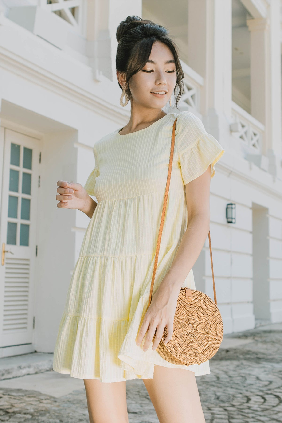 Ashton Round Neck Babydoll Dress (Yellow)
