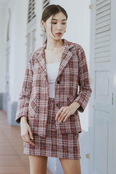 Premium* Sonja Tweed Blazer (Red)