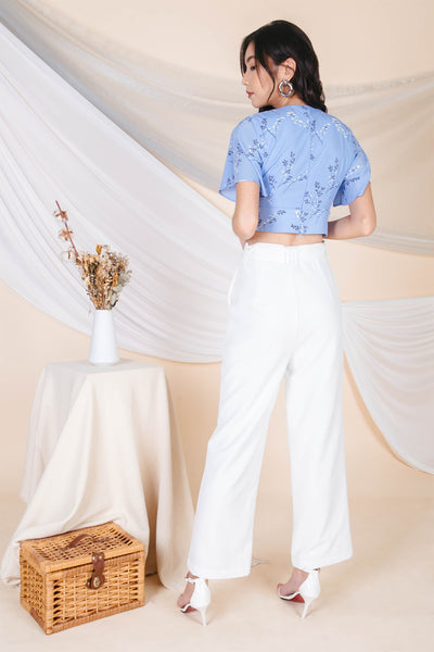 Delphine Flare Buckle Pants (White)