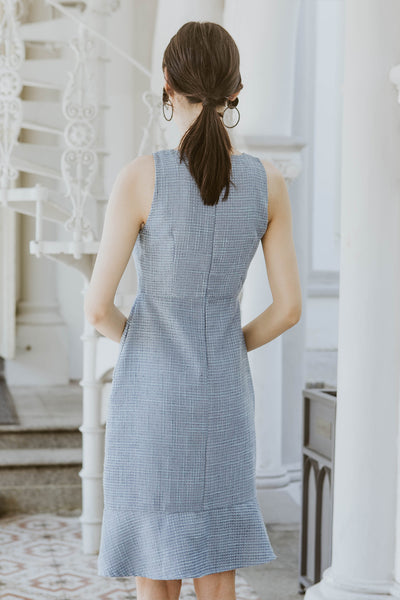 Premium* Constance Tweed Fluted Midi Dress (Blue)