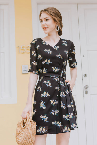 Maisie Floral Summer Dress (Black)