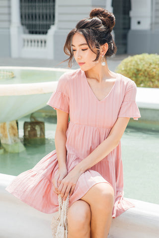 Ashton V-neck Babydoll Dress (Pink)